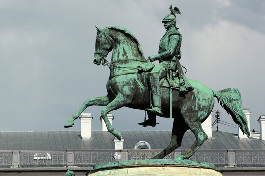 SAINT PETERSBURG, RUSSIA - JULY 4, 2017: Bronze equestrian statue of Tsar Nicholas I on Saint Isaac's Square in St. Petersburg. Old monument to Russian Emperor was installed in 1859.
