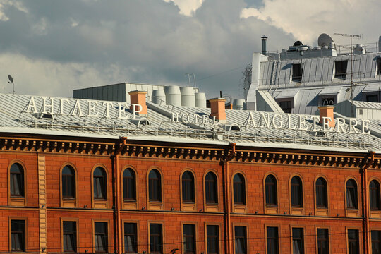 SAINT PETERSBURG, RUSSIA - JULY 4, 2017: Angleterre Hotel, modern, luxury business-class hotel opened in 1991, replicating a historic hotel originally opened in 1840.