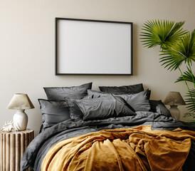 Mockup frame in bedroom interior background, Coastal boho style, 3d render