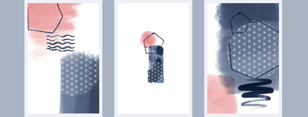 Abstact art design. Hand painted minimalistic composition. Watercolor and inc paint stains in contemporary template. Cover, card, poster and banner modern design