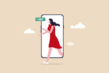 Reduce mobile screen time, digital detox, exit from virtual social media and live your real life concept, happy young woman walking step out of smartphone mobile screen follow green exit sign. Wall mural