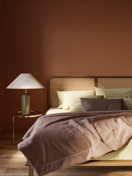 3d rendering of a closeup of a calm relaxing elegant bedroom with dark red wall and nightstands with modern table lamps