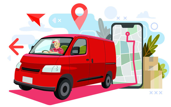 van truck delivering packages using map or gps