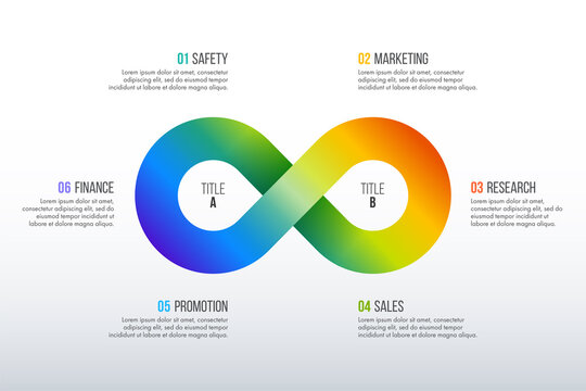 Timeline infographics design vector with infinite symbol can be used for workflow layout, diagram, annual report, web design. Business concept with 6 options, steps or processes.