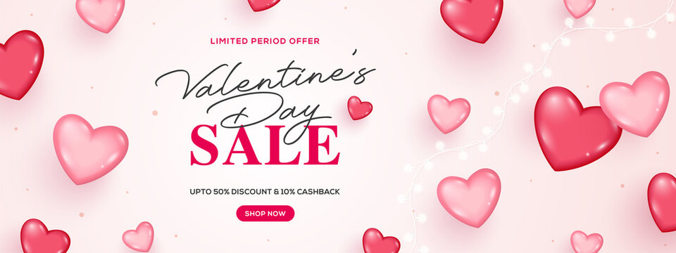 Creative valentine's day sale banner. Romantic composition with hearts and lights. Vector illustration. Wallpaper, flyers, invitation, posters, brochure, banners, ads, coupons, promotional material.