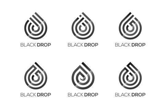 Water drop logo design template, 9 different drop logos