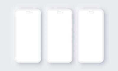Fototapeta Realistic iPhone Mobile Phone Neomorphism Template Mockup Vector. White 3D Front Design obraz