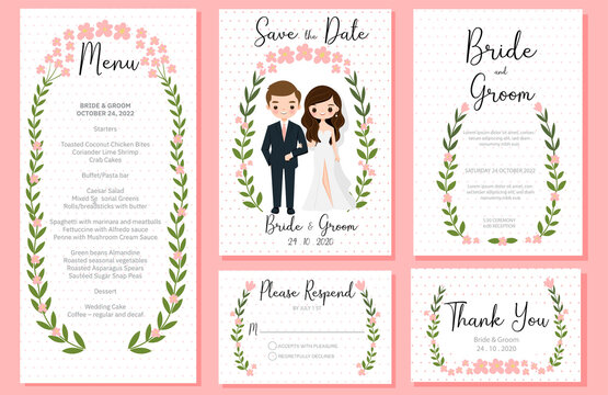 cute bride and groom cartoon with wedding inviation card template set
