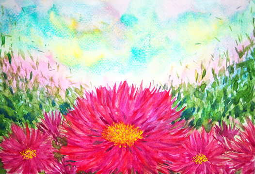 pink flower floral leaf abstract art watercolor painting illustration design drawing background nature spring summer garden