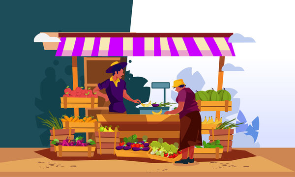 Local market. Outdoor shop places fresh farm foods.