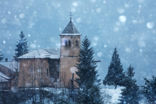 Close photo of old village church in Champagny-en-Vanoise in French, Auvergne-Rhone-Alpes