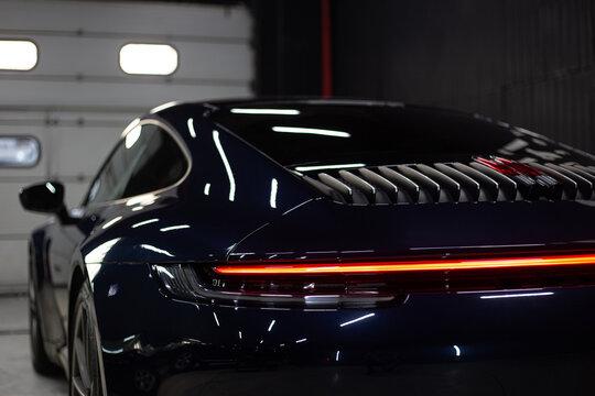 Car detailing series : Closeup blue car lamp