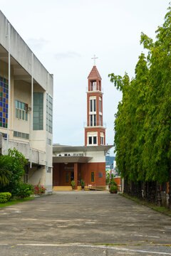 Exterior view of Our Lady Of Lourdes Church in Hat Yai, Thailand