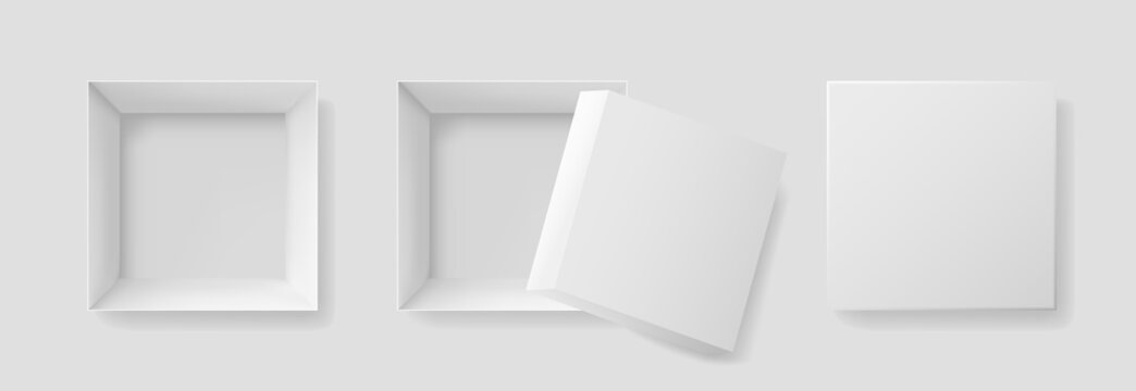 Open box with top view. Mockup of white box for gift, shoebox, christmas and pizza. Square paper package with shadow. Empty open and closed cardboard box. Realistic mock up isolated. Vector