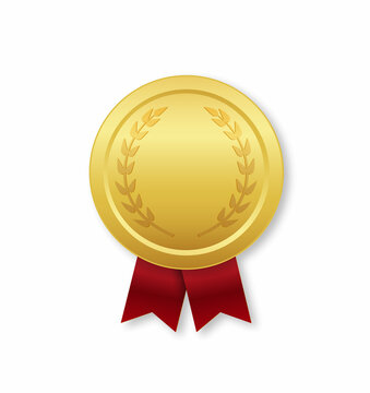 Gold medal with red ribbon. Award for winner. prize of champion. Golden medal for first place in competition. Badge of trophy, honor and victory. Icon of medal on white background. Vector