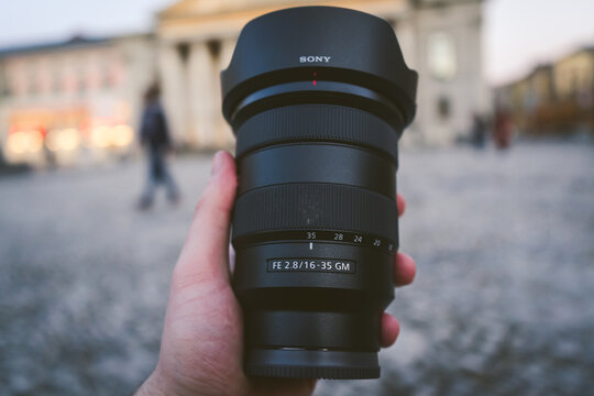 MUNICH, GERMANY - Feb 20, 2021: The Sony 16-35 f2.8 GM lens in front of an urban background