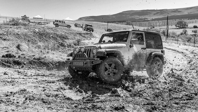 HARRISMITH, SOUTH AFRICA - Feb 20, 2021: 4x4 Mud Driver Training at Camp Jeep