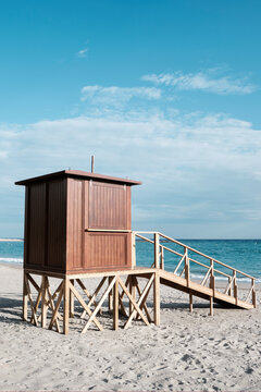 lifeguard tower in a lonely beach.