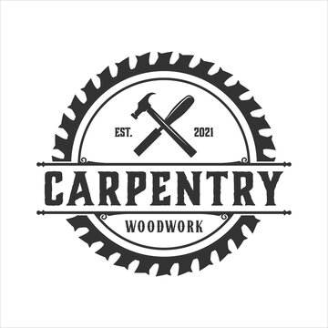 retro vintage, woodwork and carpentry logo inspiration. design template, vector illustration.