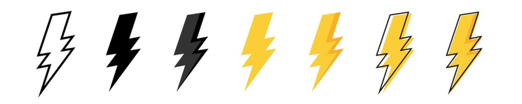 Thunder bolt vector icon. Flash logo set. Lightning icons on white background. Electrical sign. Thunderbolt symbol. Electric concept stock vector illustration.
