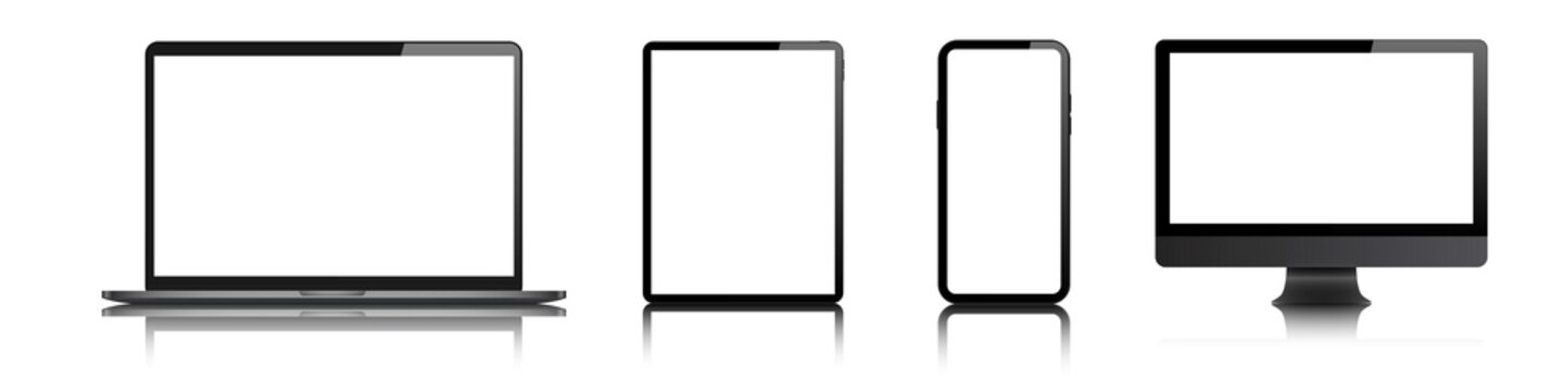 laptop, desktop computer, tablet, mobile smartwatch blank screen vector mock up. realistic pc, pad, smartphone smart watch empty screen mockup.  isolated gadget set on white background