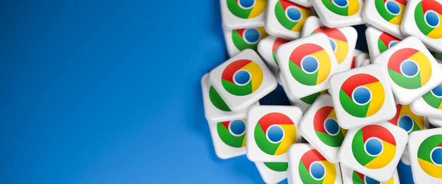 Logos of the Google browser Chrome app on a heap. Web banner size with copy space - Selective focus
