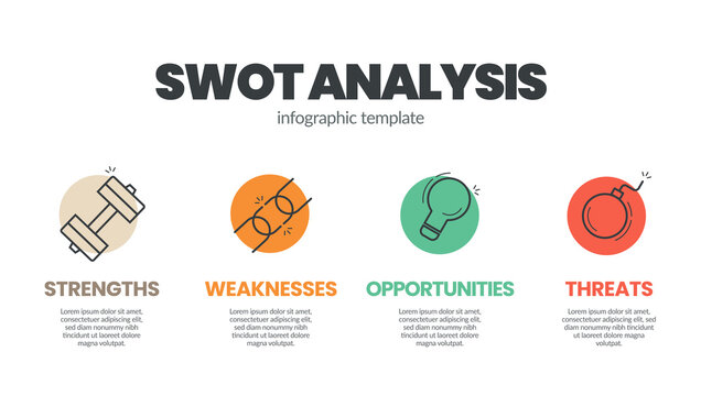 Infographic template designed with linear icons and editable  SWOT Analysis concept text box has four elements  for business plan. The presentation layout in colorful paper style.
