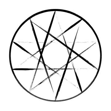 10 point star grunge icon. Clipart image isolated on white background