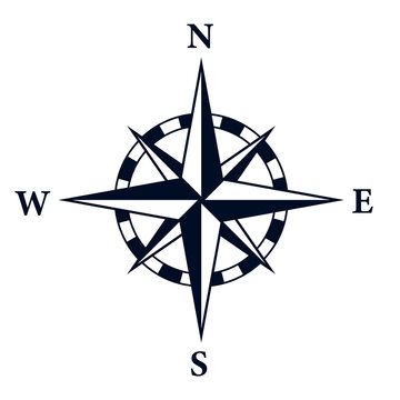 8 point star compass rose icon. Clipart image isolated on white background