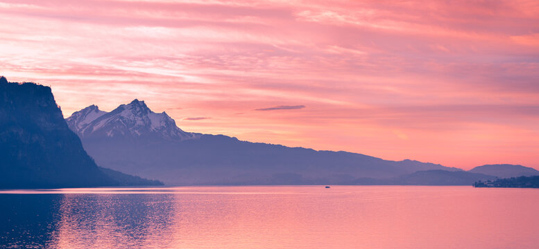 Sunset over the top of Mount Pilatus. Canton of Lucerne. Switzerland.