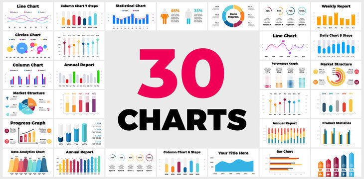 30 Infographics. Column, bar, line charts. Business financial reports. Marketing structure. Daily, weekly, annual statistics. Circle diagrams. Percentage graph. Presentation template.