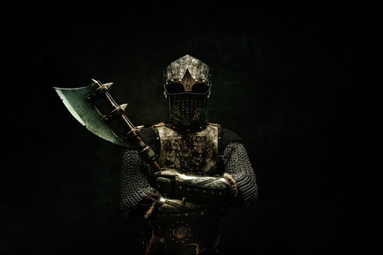 Portrait of a medieval fighter in armor, full face, arms crossed, ax in his hand