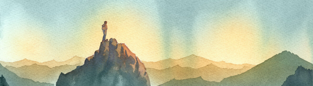 scalatore sulla vetta di una montagna. silhouette delle montagne dipinte ad acquerello.