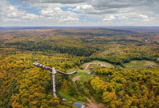 Autumn view of Copper Peak Ski  Jump near Ironwood Michigan - Upper Peninsula  - Flying hill