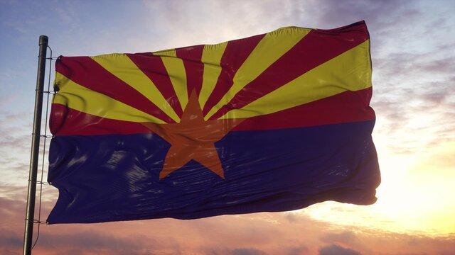 Flag of Arizona waving in the wind against deep beautiful sky. 3d illustration