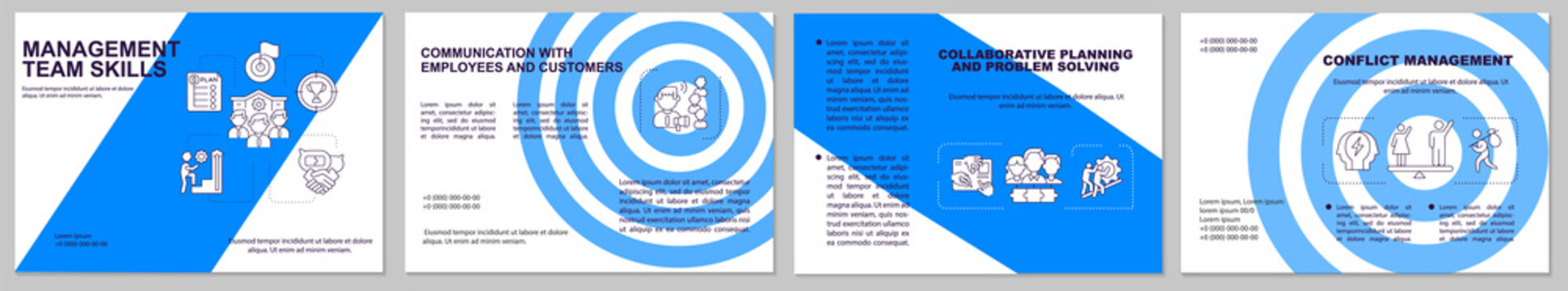 Management team skill brochure template. Collaborative solving problem. Flyer, booklet, leaflet print, cover design with linear icons. Vector layouts for magazines, annual reports, advertising posters