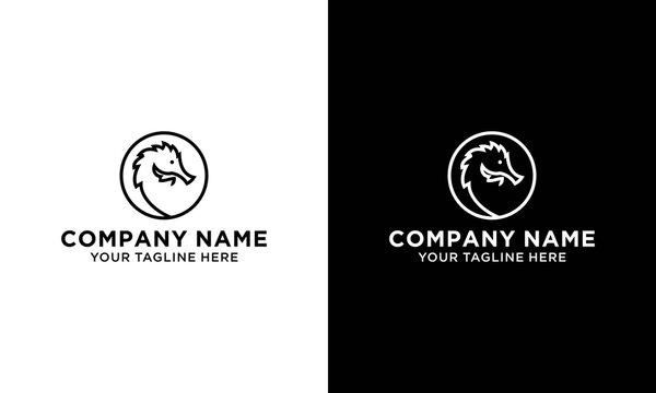 Head Seahorses Logo Vector
