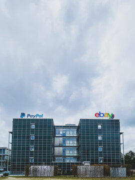 eBay and PayPal online systems building and logo