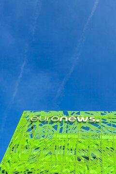 Euronews brand logo on its headquarter building
