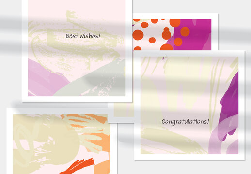 Card Layout with Textured Hand Drawn Abstract Scribbles and Floral Doodles