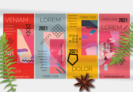 Flyer Layout with Geometric Shapes and Bright Abstract Artistic Brush Strokes