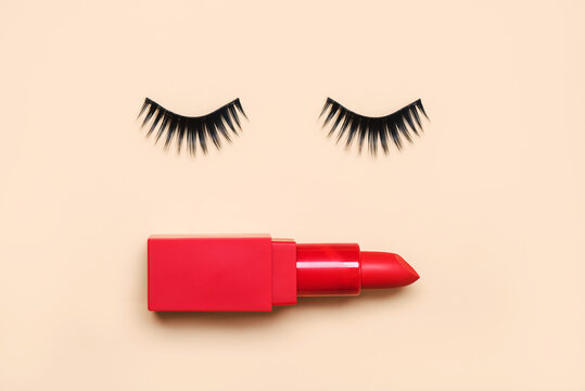 False eyelashes and red lipstick.Beauty and makeup concept