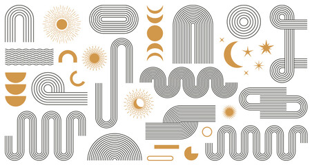 Abstract boho aesthetic geometric shape set. Contemporary mid century line design with sun and moon phases trendy bohemian style. Modern vector illustration