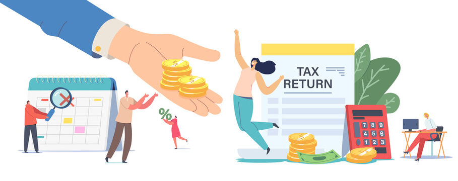 Tax Return Concept. Male or Female Characters Getting Money Refund for Purchasing, Mortgage or Health Care Service