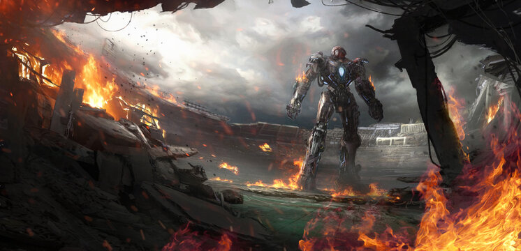 Fictional illustration of a giant robot stands in a destroyed stadium.