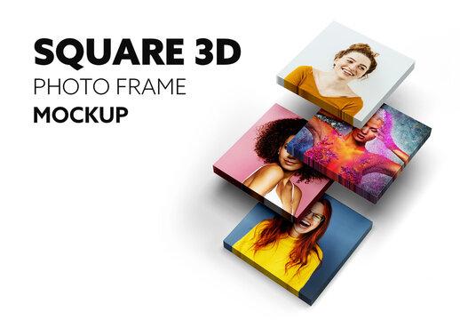 Square 3D Frame Mockup