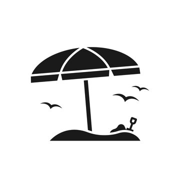 Beach umbrella vacation icon. Umbrella with sea gulls and sand shovel symbol isolated on white background. Vector EPS 10
