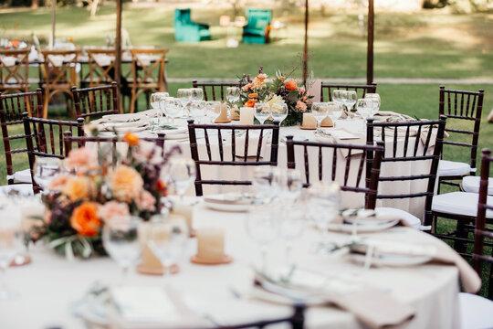 Table decoration, dinner, wedding design interior outdoor