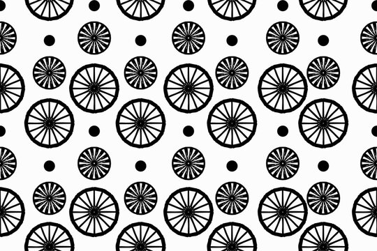 seamless pattern with abstract elements, wheels, circles, ornaments, black and white, stylized, vector graphics