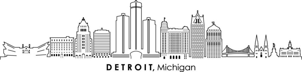 Fototapeta DETROIT Michigan SKYLINE City Silhouette  obraz